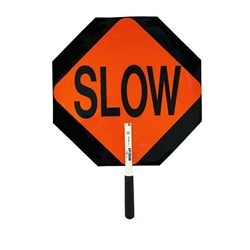 "Stop/Slow Plastic Traffic Paddle, Reflective, 12"" PVC Handle"